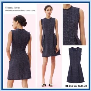 Rebecca Taylor Navy Rainbow Tweed A-Line Dress